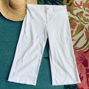 Gap White Cropped Cutoff Wide leg pants